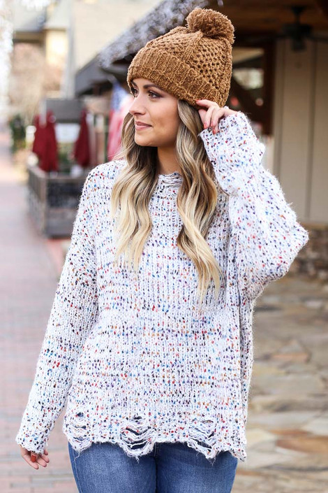 White - Distressed Confetti Sweater