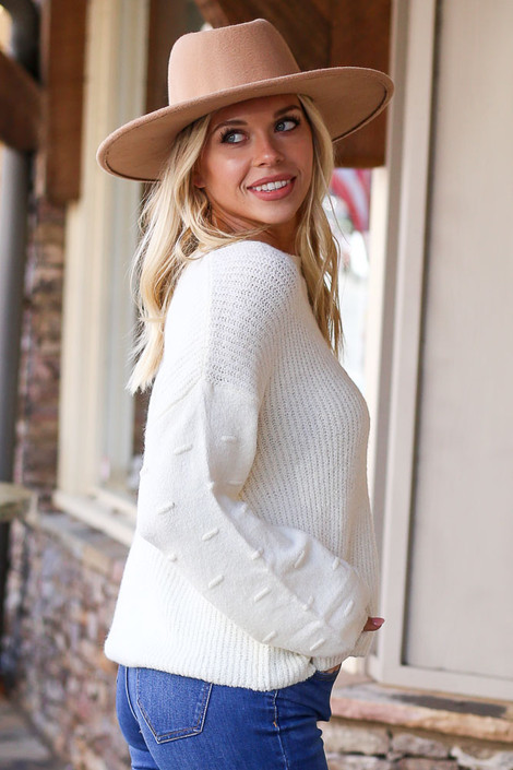Ivory - Sadie Contrast Knit Sweater