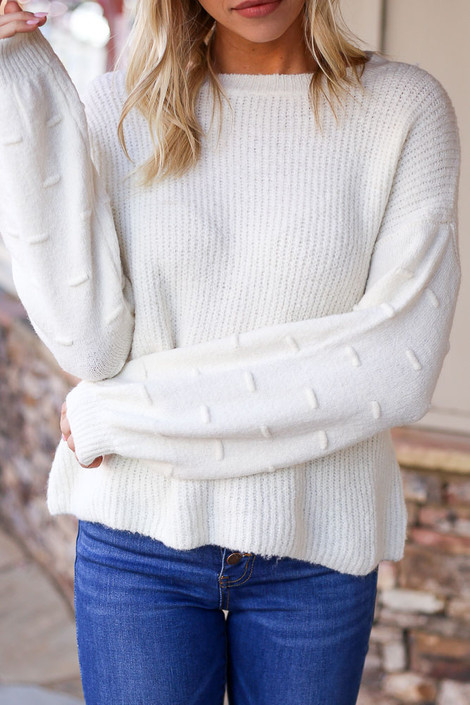 Ivory - Sadie Contrast Knit Sweater With Sleeve Details