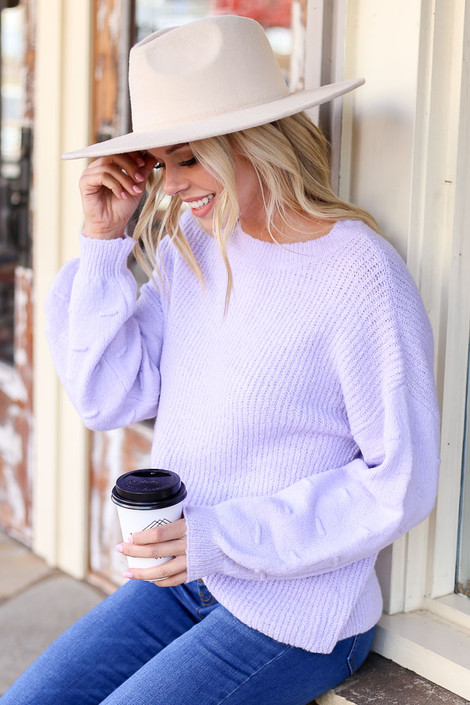 Lilac - Contrast Knit Sweater