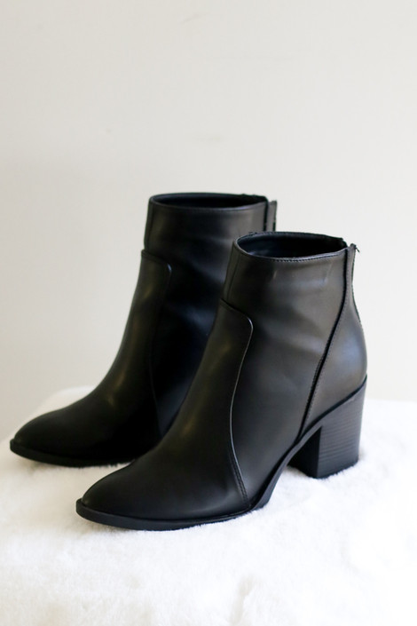 Black - Vegan booties with block heel