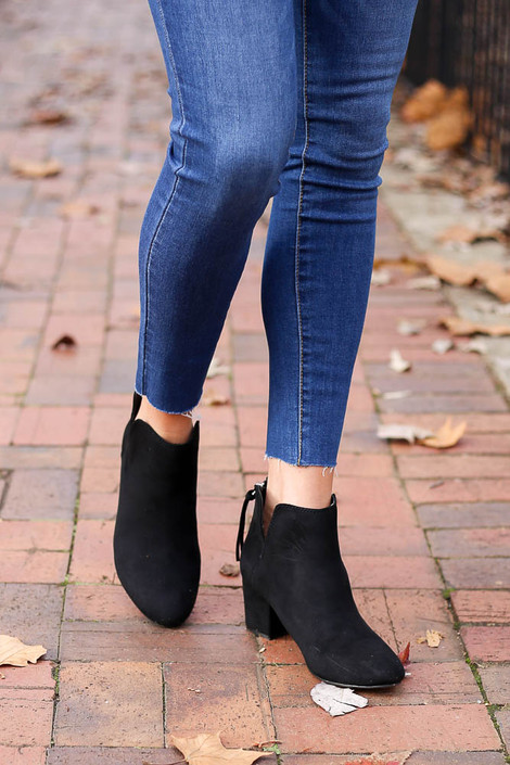 Black - Microsuede V-Cut Ankle Booties Front View