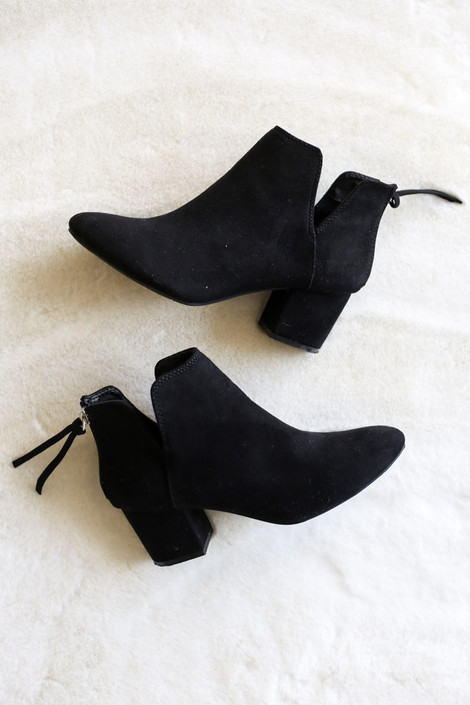 Black - Microsuede V-Cut Ankle Booties Flat Lay