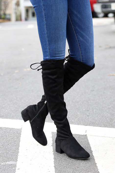 Black - Microsuede Over the Knee Boots