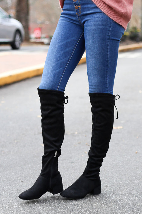 Black - Microsuede Over the Knee Boots Side View