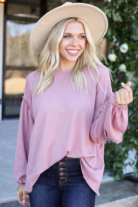 Mauve - Waffle Knit Balloon Sleeve Top Tucked In