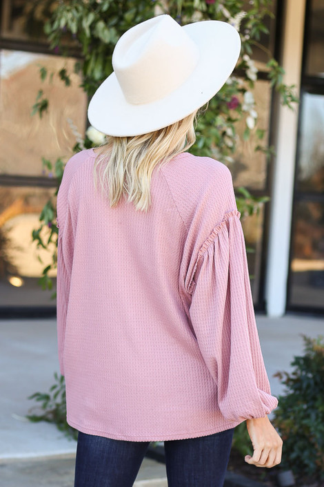 Dress Up Model wearing Mauve Waffle Knit Balloon Sleeve Top Back View