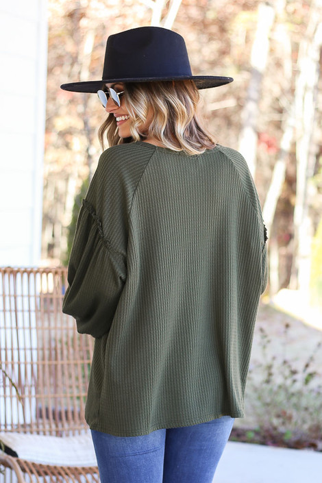 Olive - Waffle Knit Balloon Sleeve Top Back View