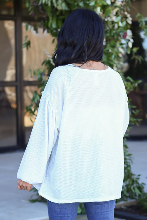 White - Balloon Sleeve Waffle Knit Top Back View