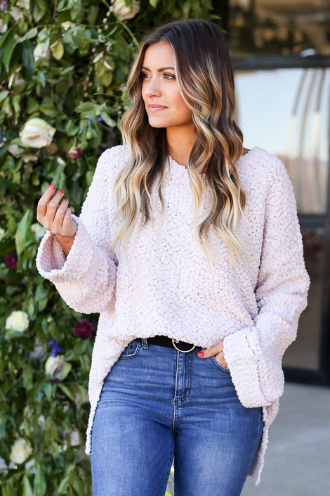 Mauve - Oversized Popcorn Knit Sweater Tucked In