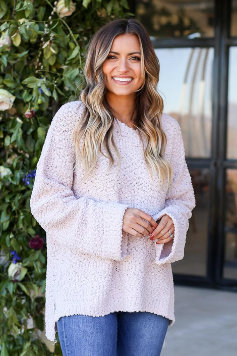 Mauve - Oversized Popcorn Knit Sweater