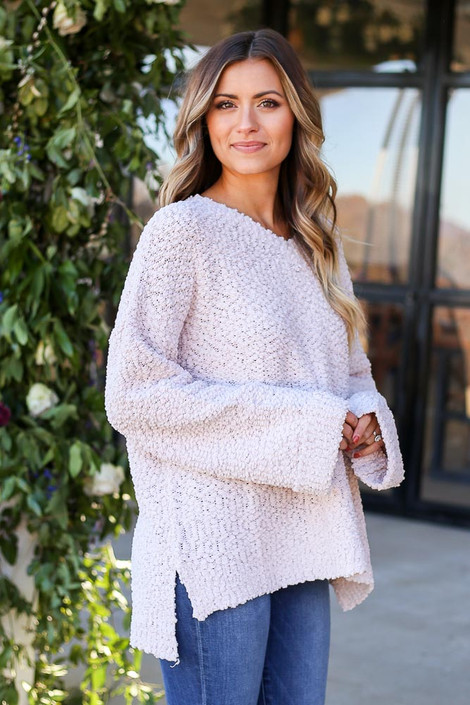 Mauve - Oversized Popcorn Knit Sweater Tucked Side View