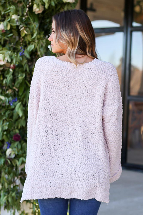 Mauve - Oversized Popcorn Knit Sweater Tucked Back View