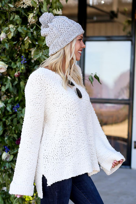 Ivory - Oversized Popcorn Knit Sweater Side View