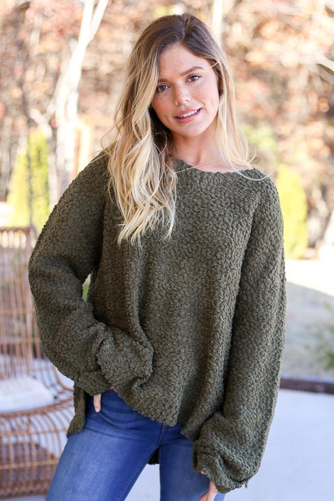 Olive - Oversized Popcorn Knit Sweater Front View