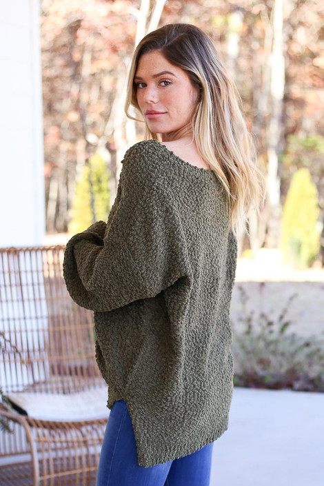 Olive - Oversized Popcorn Knit Sweater Back View