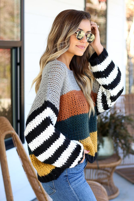 Rust - Color Block Chunky Knit Sweater Side View
