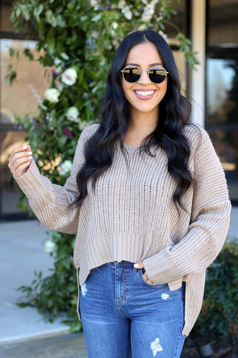 Taupe - V-Neck Cropped Knit Sweater