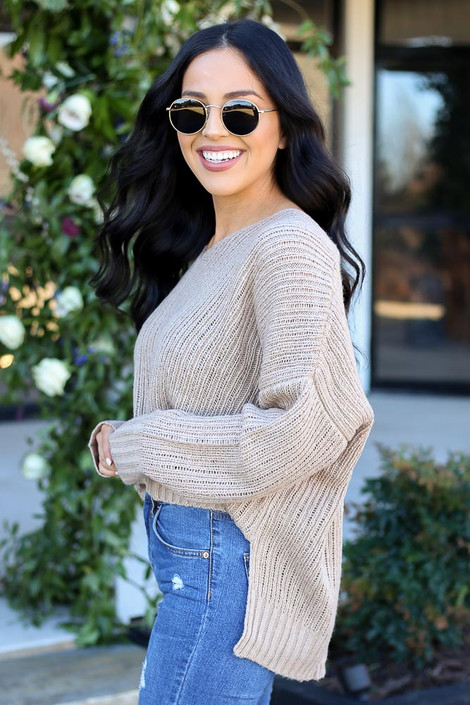 Taupe - V-Neck Cropped Knit Sweater Side View