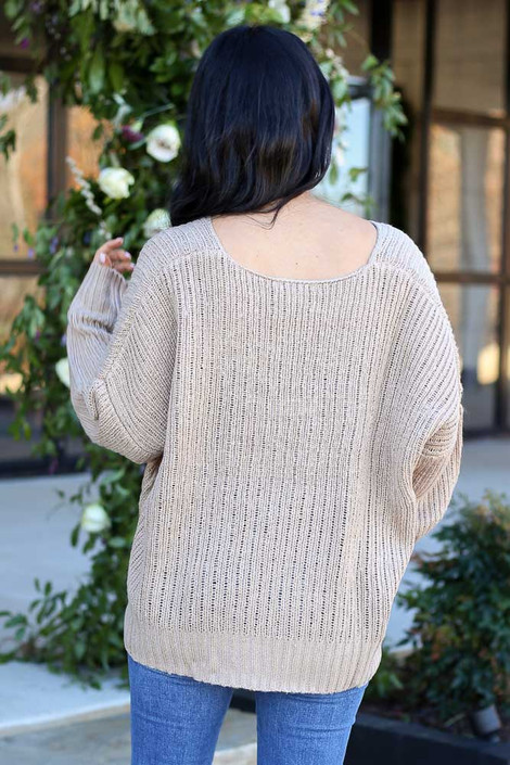 Taupe - V-Neck Cropped Knit Sweater Back View
