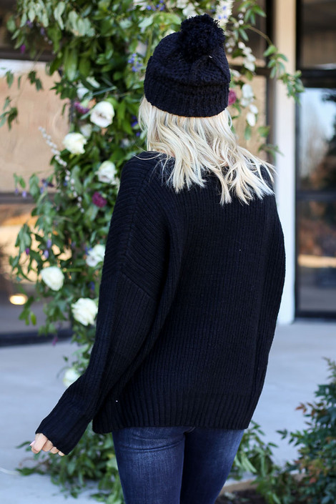 Black - Slouchy V-Neck Sweater Back View