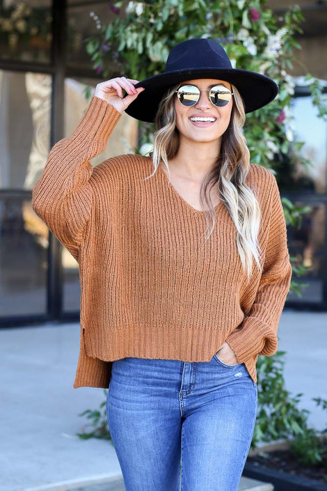 Brown - V-Neck Slouchy Sweater