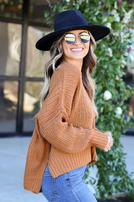 Brown - V-Neck Slouchy Sweater Side View