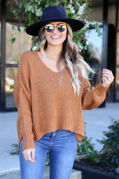 Brown - V-Neck Slouchy Sweater Front View