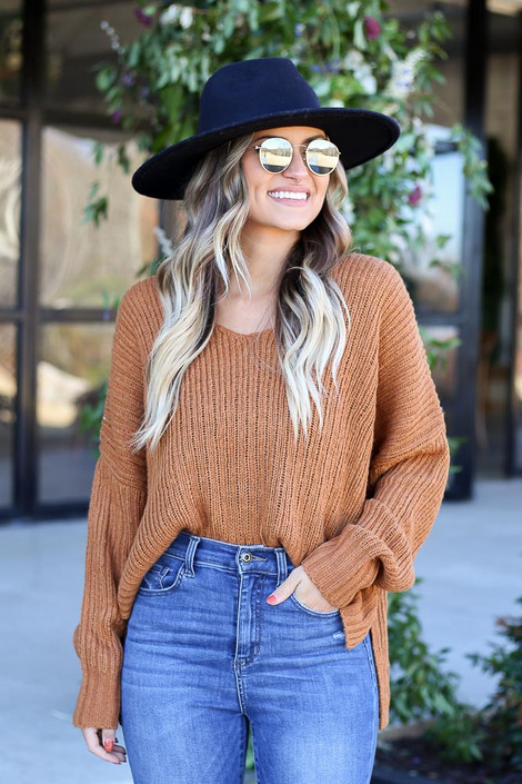 Brown - V-Neck Slouchy Sweater Tucked In