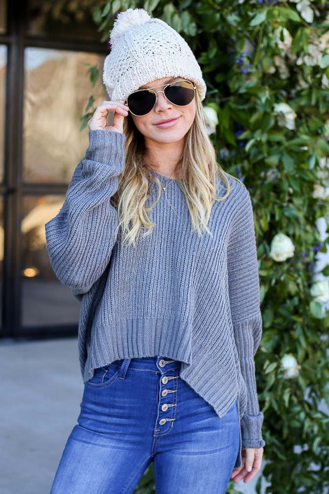 Grey - Slouchy V-Neck Knit Sweater