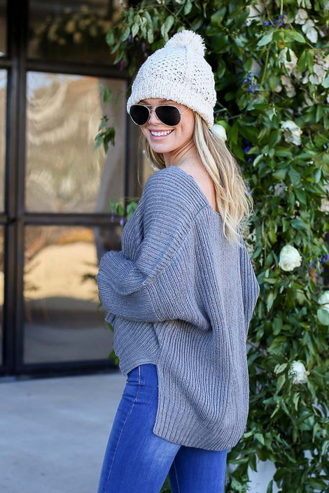 Grey - Slouchy V-Neck Knit Sweater Side View