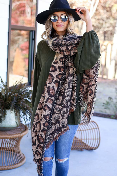 Taupe - Leopard Blanket Scarf