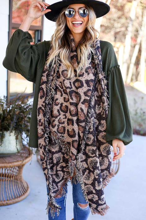 Taupe - Leopard Blanket Scarf Front View