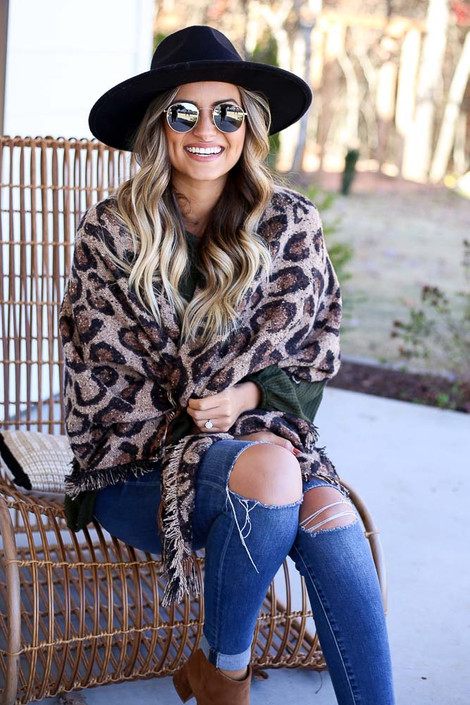 Taupe - Leopard Blanket Scarf Sitting View