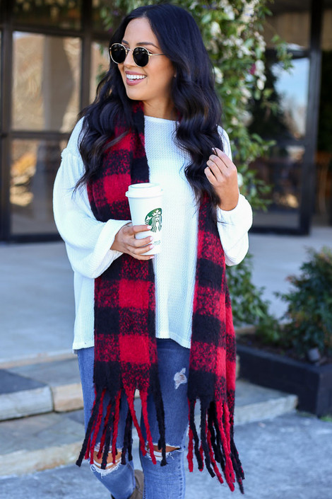 Red - Buffalo Plaid Fringe Blanket Scarf