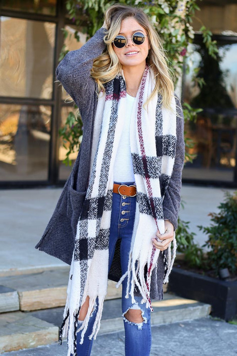 White - Plaid Fringe Scarf