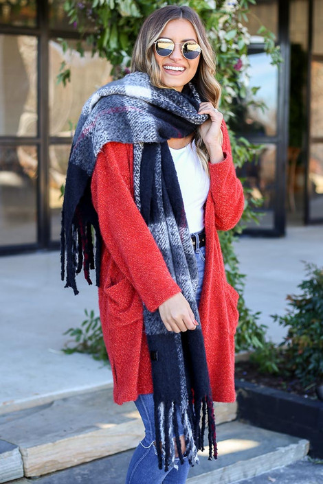 Dress Up Model wearing Black Plaid Blanket Scarf