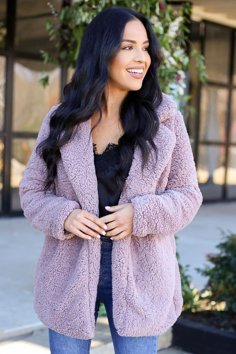 Model of Dress Up wearing the Mauve Sherpa Teddy Jacket  Front View