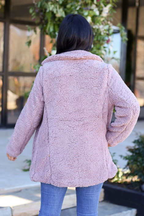 Model of Dress Up wearing the Mauve Sherpa Teddy Jacket  Back View