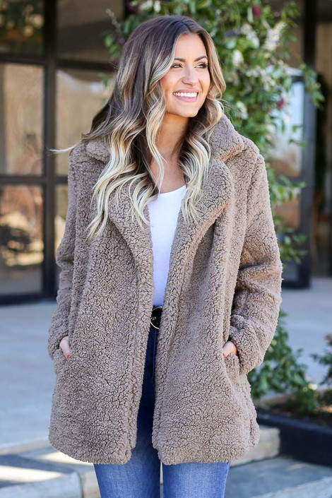 Model wearing the Mocha Sherpa Teddy Jacket from Dress Up Boutique - Front View