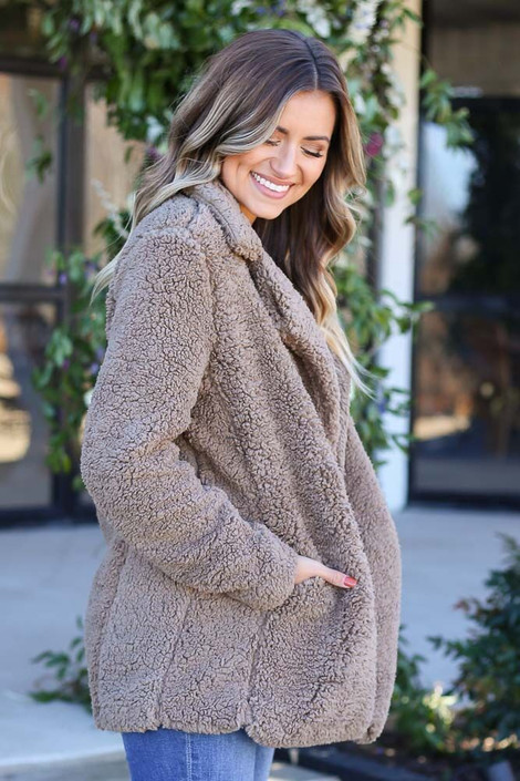 Mocha - Sherpa Teddy Jacket from Dress Up Boutique