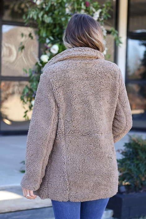 Model wearing the Mocha Sherpa Teddy Jacket from Dress Up Boutique - Back View
