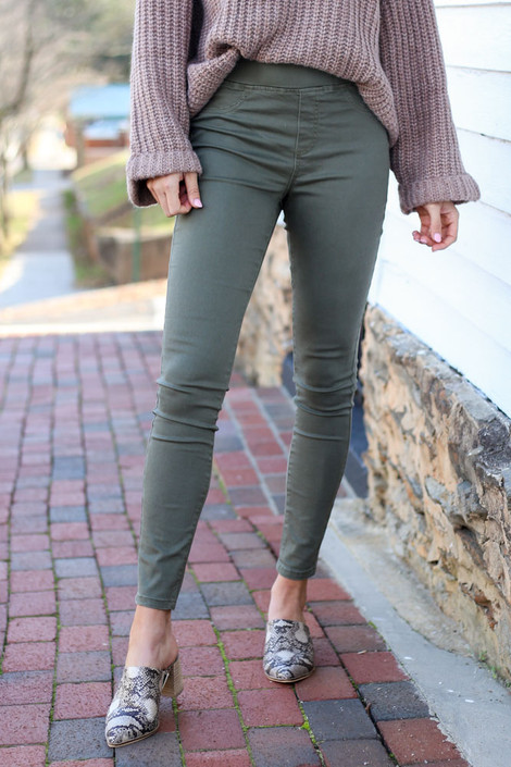 Olive - Mid-Rise Jeggings with pointed toe mule shopdressup.com