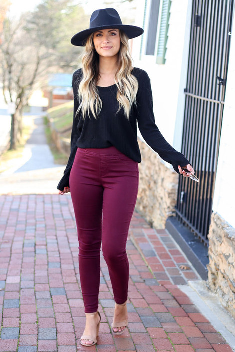 Burgundy - Mid-Rise Jeggings from shopdressup.com