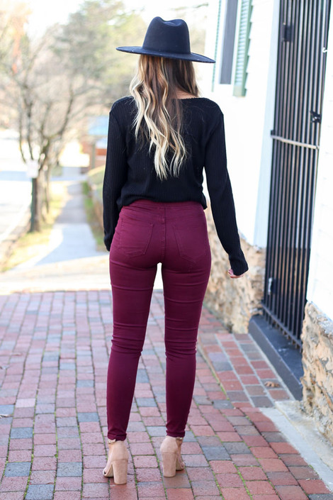 Burgundy - Mid-Rise Jeggings Back View