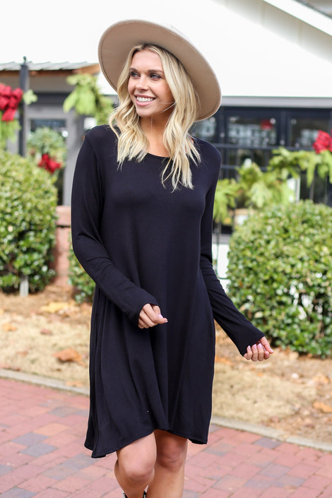 Black - Swing T-Shirt Dress