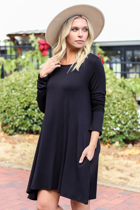 Black - Swing T-Shirt Dress Side View