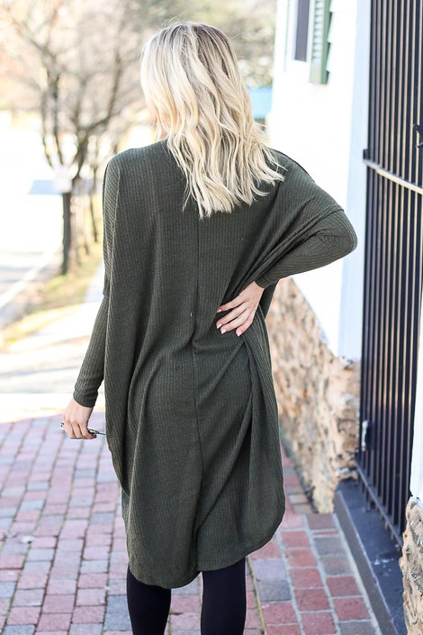 Olive - Ribbed Surplice Top Back View