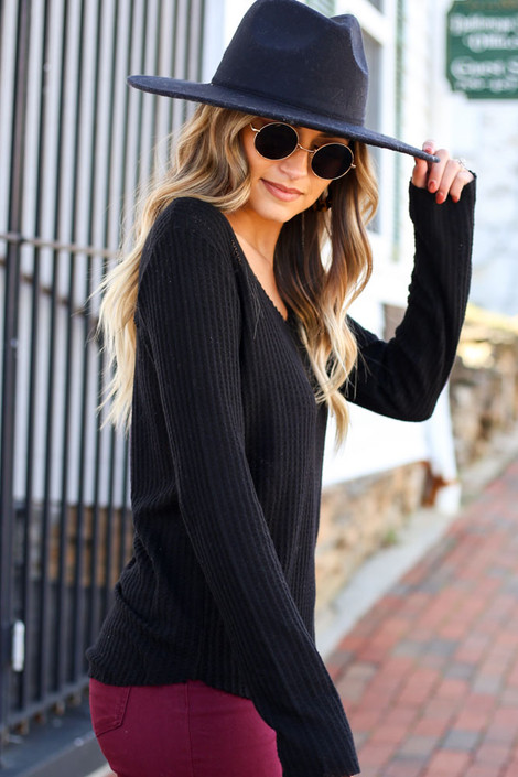 Black - Waffle Knit Top Side View