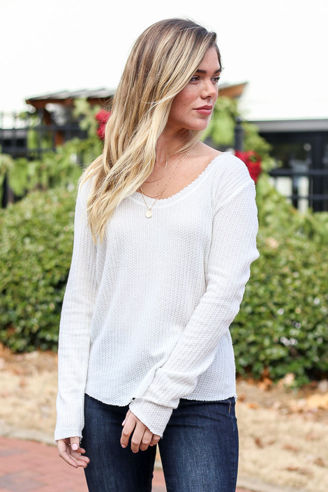 White - Waffle Knit Top